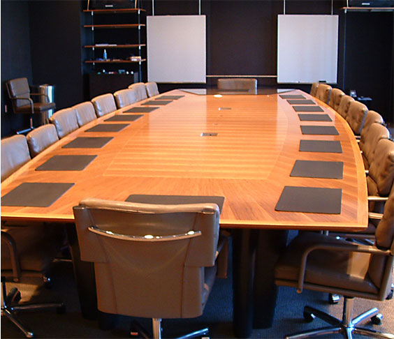 Billings Woodworking and the completed, resized conference table